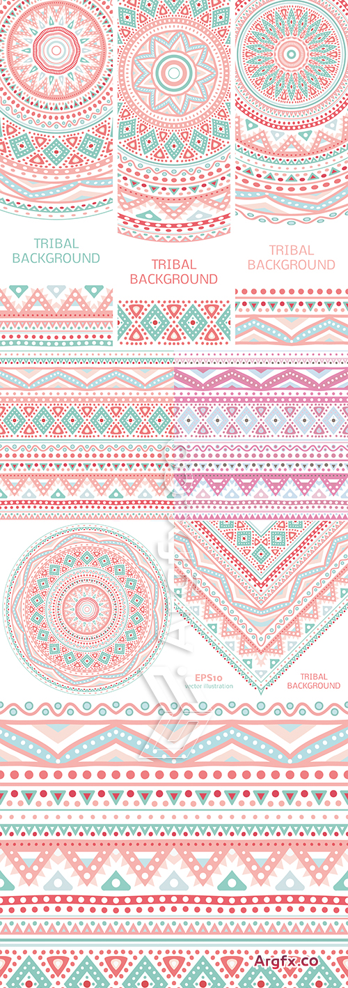 Tribal Ethnic Pastel Backgrounds Vector