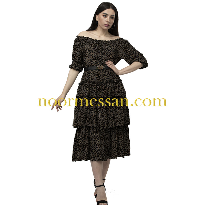 فستان ميدي نمري طبقات أوف شوادر  بني